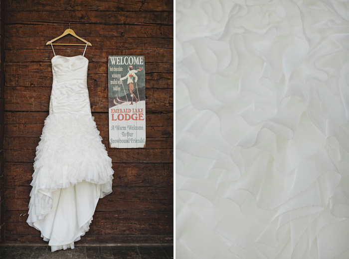 Bride's elegant wedding dress on Emerald Lake Lodge