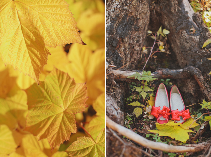 Red bridal shoes in the woods