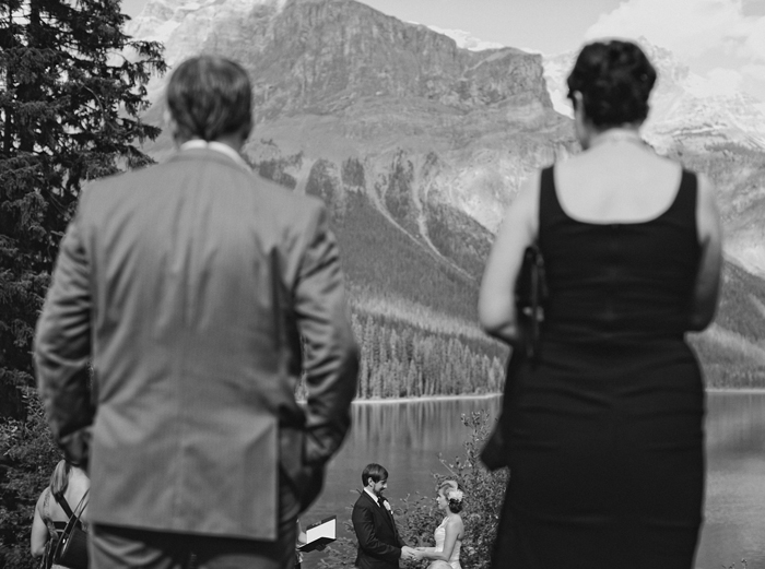 An intimate ceremony at Emerald Lake Lodge in British Columbia