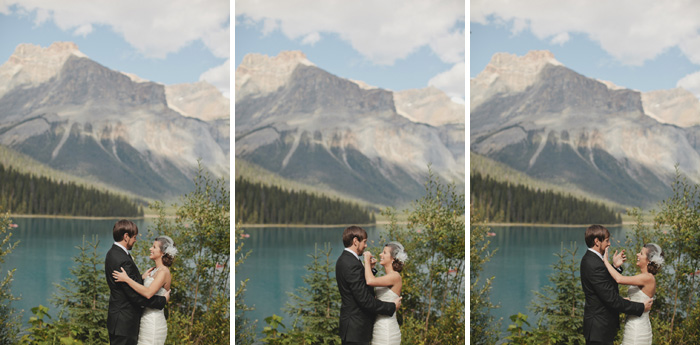 Mountain backdrop ceremony on the lake