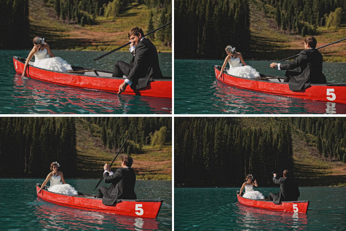 Wedding photographer in a canoe