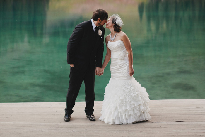 Bride and groom portraiture at Emerald Lake Lodge