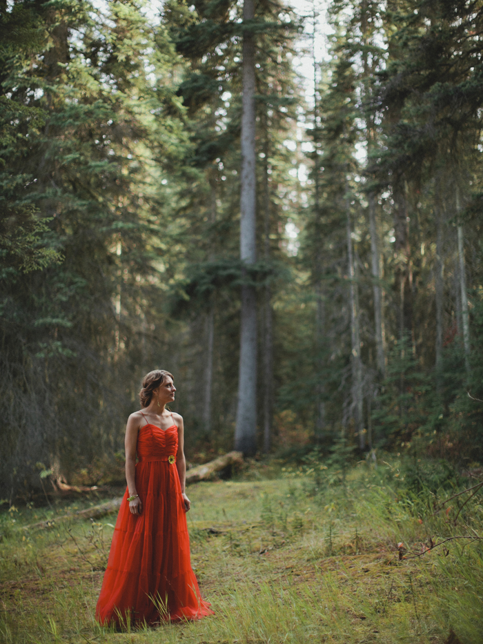 Bride wearing a red dress