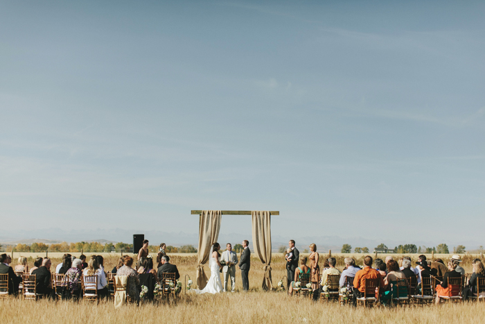 An intimate horse pasture wedding in rural Alberta