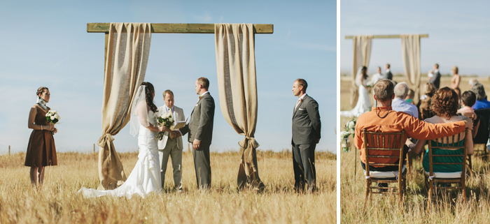 Burlap backdrop at an outside country wedding