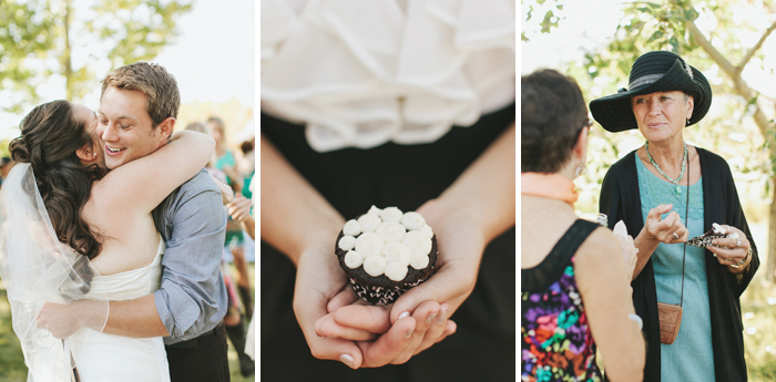 Homemade cupcakes as refreshments at a backyard wedding