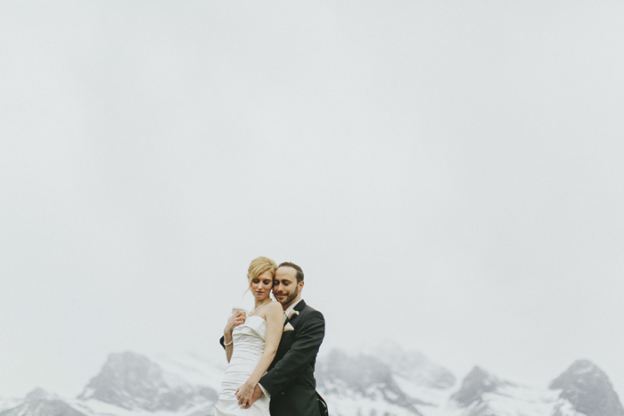 Couple Portraits in Canmore, Alberta on a rainy day