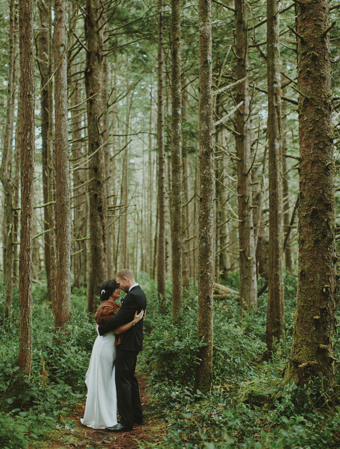 Pacific Rim National Park wedding portraiture in a forest