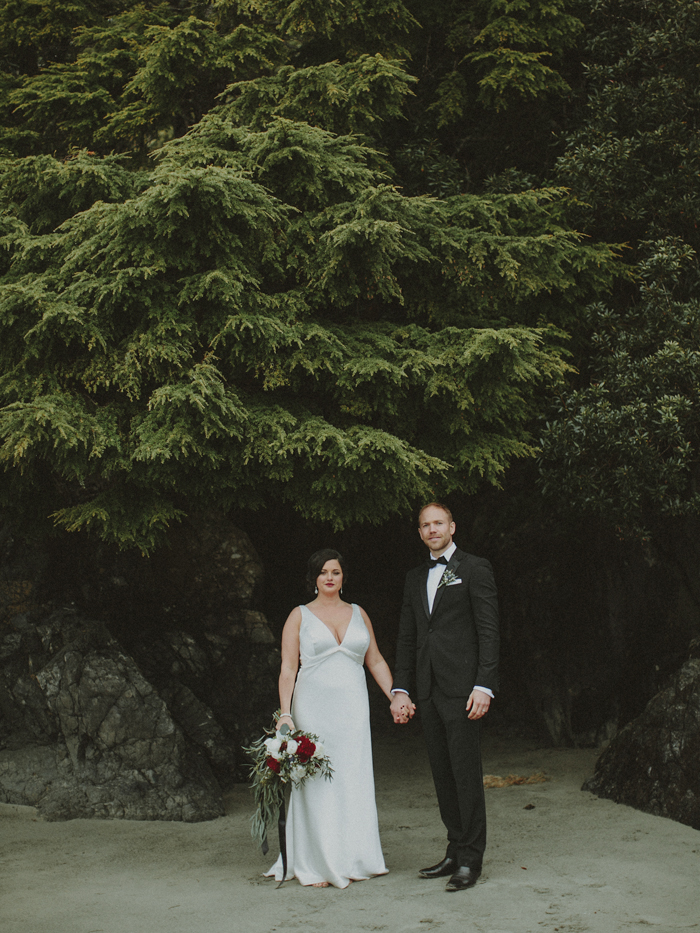 Wedding couple portraits at Middle Beach Lodge in Tofino