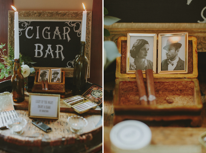 Cigar bar at a Tofino wedding