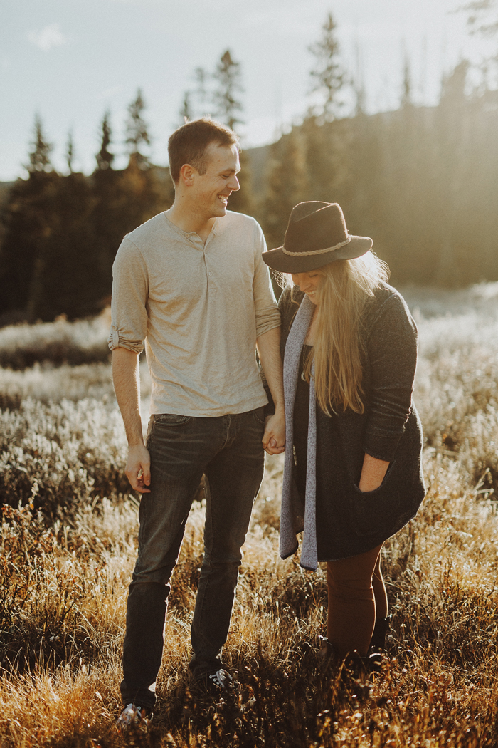 Paige and Andrew's mountain meadow engagement session in the Canadian Rocky Mountains
