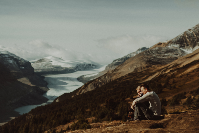 A glacier backdrop for a Banff engagement session in the fall
