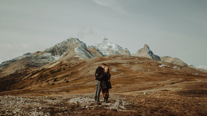 Mountain meadow engagement session in Banff National Park